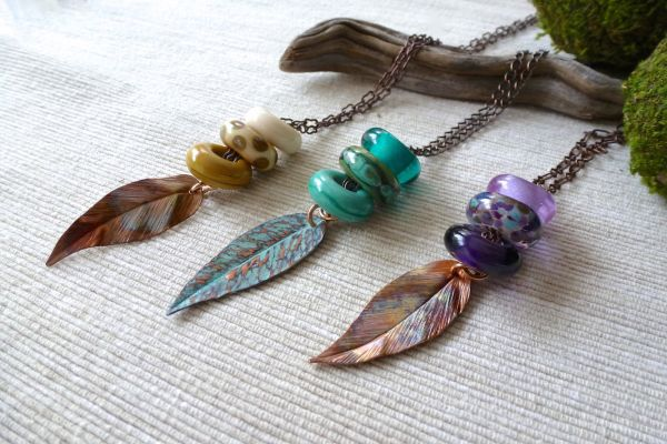 Interchangeable Bead Leaf Necklace